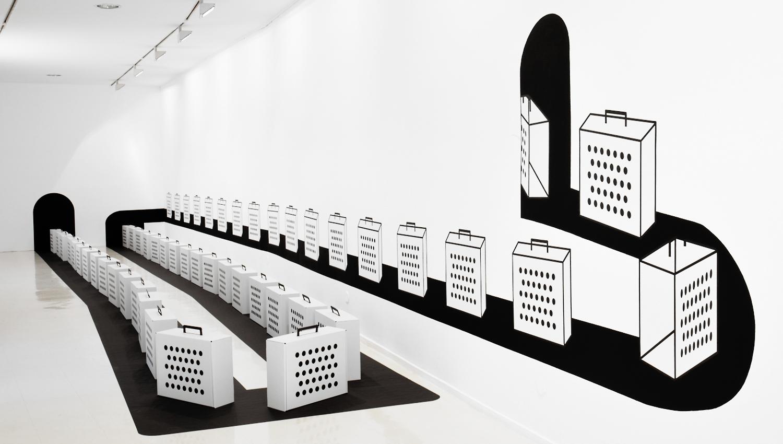 Raumgestaltung auf minimalistischer Art: Raumzeichnung und 3D-Piktogramm: Reisehund Party