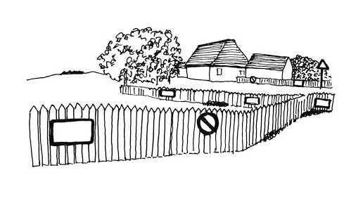 Hooger Nüsse Buchillustration: Verbotschilder und Zäune