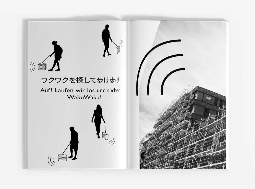 """Künstlerbuch """"Reisehund in Berlin"""", GUP-py, Doppelseite 14-15"""